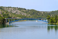 Krka bridge. Arch bridge over Krka river in Croatia Royalty Free Stock Photos