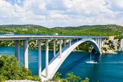 The Krka Bridge in Croatia. The Krka Bridge on the way to Sibenik, Croatia royalty free stock photos