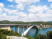 The Krka Bridge in Croatia. The Krka Bridge on the way to Sibenik, Croatia stock photo