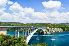 The Krka Bridge in Croatia. The Krka Bridge on the way to Sibenik, Croatia stock images
