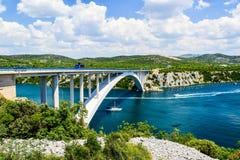 The Krka Bridge in Croatia. The Krka Bridge on the way to Sibenik, Croatia stock image