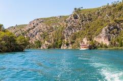 Krka flod i Kroatien Arkivfoto
