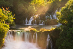 Krka morning waterfalls Stock Image