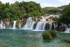 KRKA NATIONAL PARK, CROATIA - AUG 10, 2015: Tourists swim in the. Krka River in the Krka National Park in Croatia. It is one of the National Parks in Croatia Royalty Free Stock Images