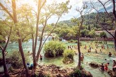 Krka national park with waterfalls Stock Photos