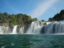 Krka: people having bath in a river with waterfalls Royalty Free Stock Photography