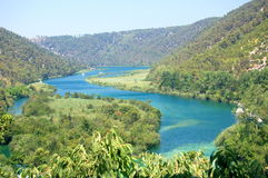 Picturesque Krka river Krka National Park, Croatia Stock Images