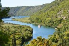 Krka River, Croatian National Park. Tourist boats on Krka River, National Park of Krka, Croatia Stock Photo