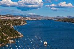 Krka river and Sibenik town, Croatia Royalty Free Stock Photography