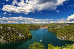 Krka River and Skradin Royalty Free Stock Images
