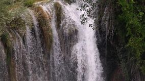 Krka river waterfall in slow motion. Krka river beautiful river landscape. Awesome Krka river national park. Relaxing and storng stock footage