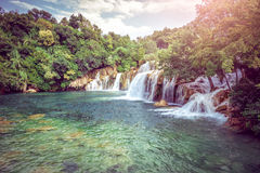 Krka river waterfall Royalty Free Stock Photos