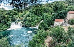 Krka siklawy, chorwacki park narodowy, błękita filtr Zdjęcie Stock