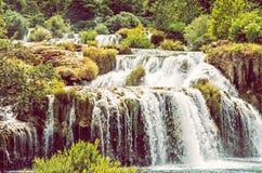 Krka siklawy, chorwacki park narodowy, piękno filtr Obrazy Stock