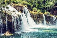 Krka siklawy, chorwacki park narodowy, piękno filtr Zdjęcie Stock