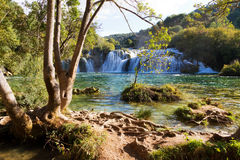 Krka tropical waterfall. Beautiful view on the Skradinski  waterfall at the end of the Krka river in Krka national park in Croatia Royalty Free Stock Photography