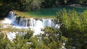 Krka Waterfall in croatia stock video
