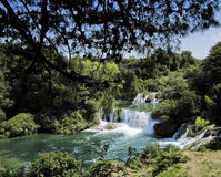 Krka waterfalls. Overview of green waterfalls of Krka in Croatia stock image