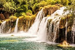 Krka waterfalls, croatian national park, yellow filter Royalty Free Stock Photography