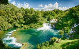 Krka Waterfalls (Krka National Park, Croatia). The Krka National Park is located within the territory of Šibenik-Knin County and encloses an area of approx. 110 Royalty Free Stock Images