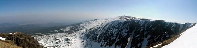 krkonose山全景冬天 免版税图库摄影