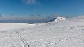 Krkonose山冬天风景与Snezka小山的 美好的冬天风景Krkonos在一个晴天 库存照片