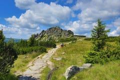 Krkonose山,捷克,波兰 图库摄影