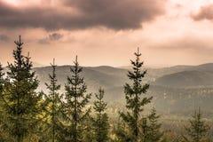 Krkonose berg nära Harrachov, Tjeckien arkivfoto