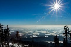 Krkonose - Janske lazne - Czeh mountains. Czech mountains in winter - view from the cross-country circuit in the valley Stock Photography