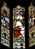 Królewska jednorożec, Colourful bezszwowego witrażu nadokienny panel wewnątrz Fotografia Stock