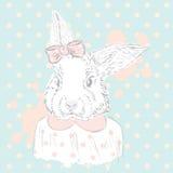 Królika wektor Ręka rysunek zwierzę druk modniś Akwarela królik antykwarskiej pocztę collectible pocztówki z przedmiotem rocznik Obrazy Stock