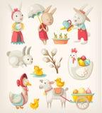królikiem także byli zwierzęta mogą pisklęcy corel Easter eps kartoteki formata wolnej ręki grafika wakacji baranek target544_0_  Obrazy Stock