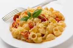 Kräm- och tomatpasta med gaffeln Royaltyfri Bild