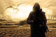 Kärn- stolpeapokalyps Öken och död ofruktbar mark Royaltyfri Fotografi