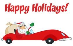 körning av lyckliga ferier santa för hälsning Arkivfoton