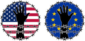 Kränkning av mänskliga rättigheter i USA och EU Royaltyfria Foton