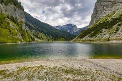 Krnsko jezero lake with mountain Krn. In background in Triglav National Park, Julian Alps Slovenia Europe Royalty Free Stock Images