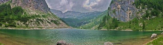 Krnsko Jezero. A panoramic view of the lake of Krnsko Jezero on the slovenian Alps near Bovec Stock Photos