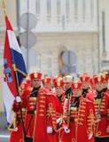 Kroatië/Eerwacht Battalion/Militairen en Vlag Stock Afbeelding
