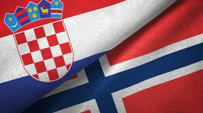 Kroatië en Noorwegen twee vlaggen textieldoek, stoffentextuur royalty-vrije illustratie