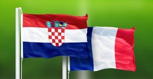 Kroatië - Frankrijk, DEFINITIEF VAN de Wereldbeker van FIFA, Rusland 2018, Nationale Vlaggen royalty-vrije stock afbeeldingen