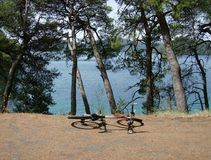 Kroatië, Mljet: De fiets ligt op een grintweg royalty-vrije stock afbeelding
