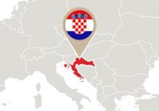 Kroatië op de kaart van Europa royalty-vrije illustratie