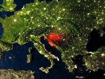 Kroatië in rood van ruimte bij nacht royalty-vrije illustratie