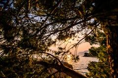 Kroatië is verbazend bij zonsondergang stock afbeeldingen