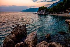 Kroatië is verbazend bij zonsondergang stock foto