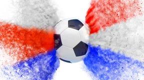 Kroatië versus Het Voetbalgelijke van Rusland Deeltjes in de nationale kleuren van Kroatië en van Rusland, die een Socccer-bal ra Stock Fotografie