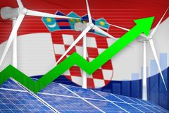 Kroatië zonne en windenergie het toenemen grafiek, pijl omhoog - moderne natuurlijke energie industriële illustratie 3D Illustrat vector illustratie