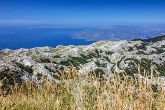 Kroatien Dalmatia, Biokovo berghav panorama- landskap Fotografering för Bildbyråer