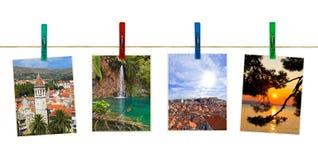 Kroatien-Fotographie auf Clothespins Lizenzfreie Stockbilder